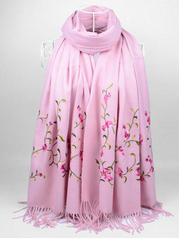 Shop Vintage Floral Embroidery Faux Wool Long Scarf PINK