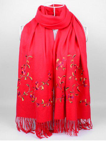 Shops Vintage Floral Embroidery Faux Wool Long Scarf