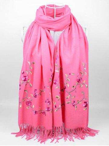 Store Vintage Floral Embroidery Faux Wool Long Scarf