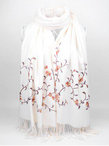 Hot Vintage Floral Embroidery Faux Wool Long Scarf