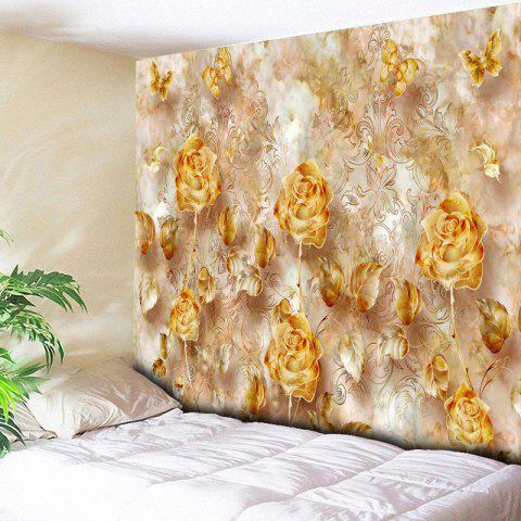Fashion Rose Print Wall Decor Flower Tapestry GOLDEN W59 INCH * L51 INCH