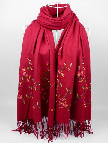 Outfits Vintage Floral Embroidery Faux Wool Long Scarf
