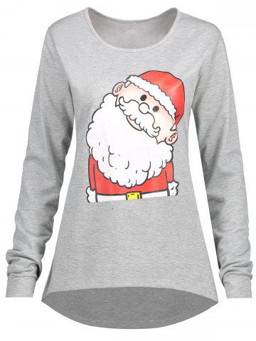Affordable Christmas Santa Claus Plus Size High Low T-shirt GRAY 4XL