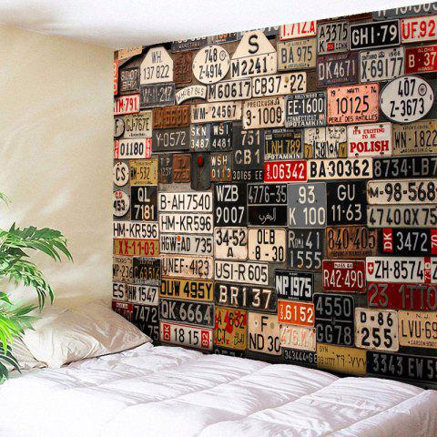 Latest Wall Hanging License Plate Number Printed Tapestry BROWN W59 INCH * L51 INCH