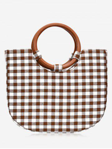 Chic Round Handle Gien Check Handbag