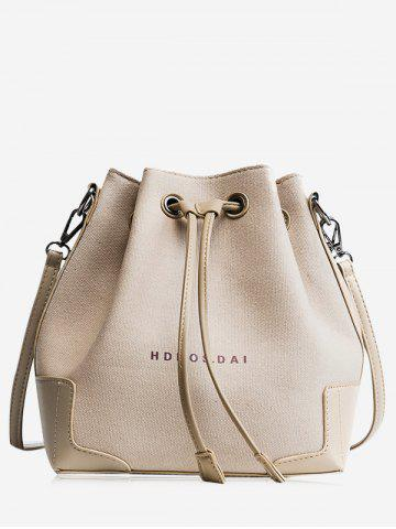 New Letter Canvas Drawstring Crossbody Bag KHAKI