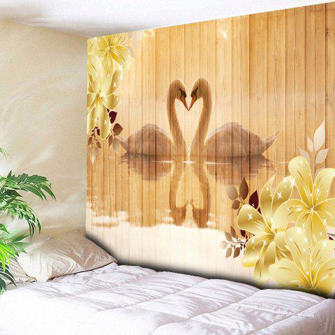 Affordable Wall Art Romantic Love of Geese Print Tapestry YELLOW W59 INCH * L51 INCH
