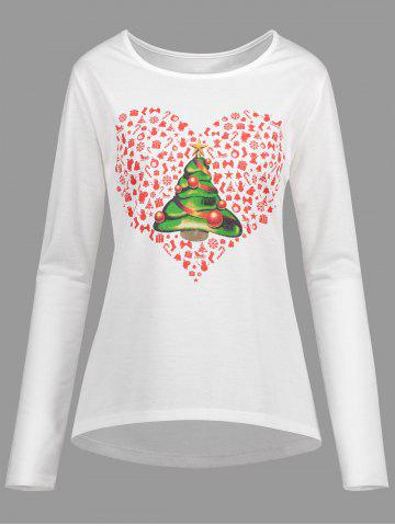 Best Christmas Tree Heart Plus Size High Low Tee - 4XL WHITE Mobile