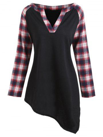 Outfit Plus Size Asymmetric Plaid Raglan Sleeve T-shirt - 2XL BLACK Mobile