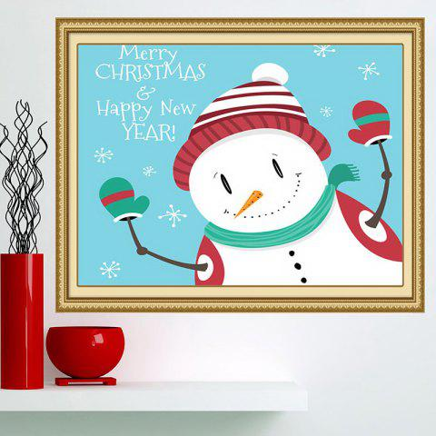 Best Happy Christmas Snowman Printed Multifunction Wall Art Painting - 1PC:24*24 INCH( NO FRAME ) BLUE AND WHITE Mobile