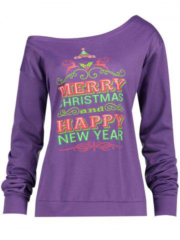 Trendy Christmas Tree Print Plus Size Drop Shoulder Sweatshirt PURPLE XL