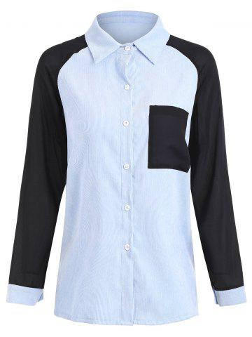Outfit Plus Size Contrast Pocket Corduroy High Low Shirt