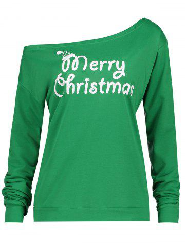 Discount Merry Christmas Plus Size Skew Neck Sweatshirt - 2XL GREEN Mobile