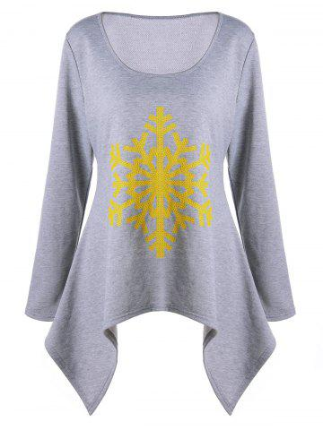 New Plus Size Asymmetric Christmas Snowflake Long Sleeve T-shirt