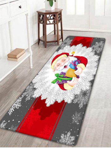Discount Santa Claus Print Christmas Flannel Skidproof Bath Rug