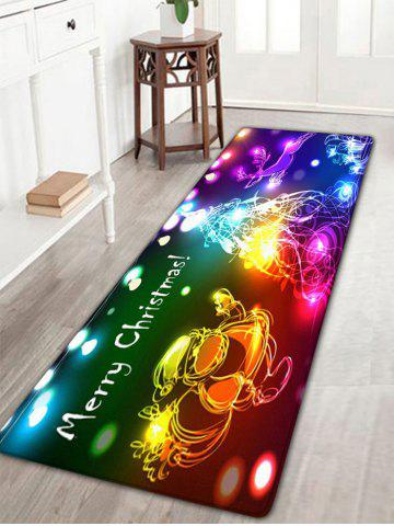Shops Neon Christmas Tree Santa Claus Flannel Skidproof Bath Rug