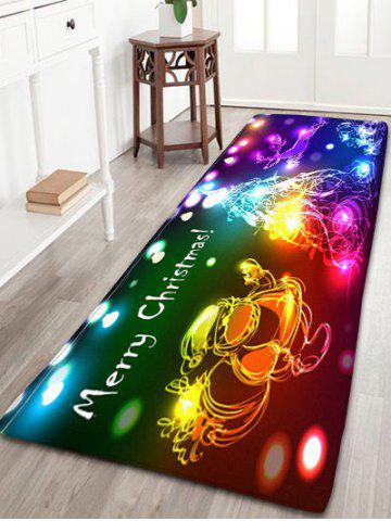 Sale Neon Christmas Tree Santa Claus Flannel Skidproof Bath Rug - W24 INCH * L71 INCH COLORFUL Mobile