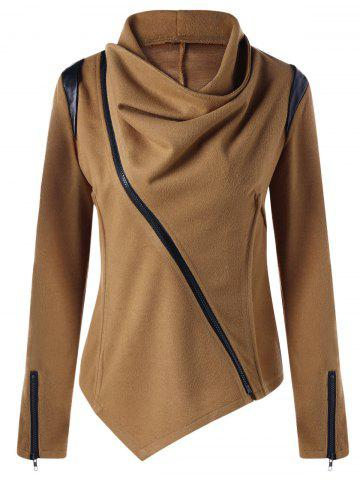Latest Zip Cuff Cowl Neck Asymmetrical Jacket - XL CAMEL Mobile