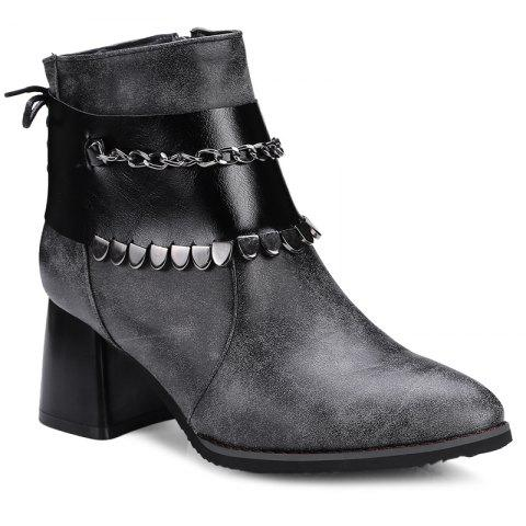 Shops Chunky Heel Detachable Pendant Ankle Boots