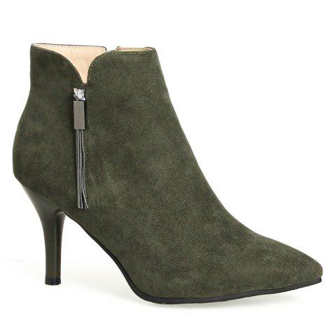 Cheap Pointed Toe Stiletto Heel Side Zip Boots
