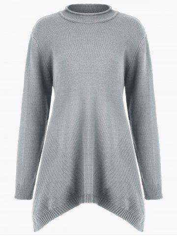 New Plus Size Long Asymmetric Sweater with Slit
