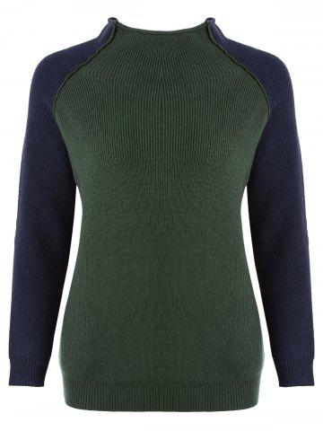 Discount Color Block Elbow Patches Plus Size Mock Neck Sweater