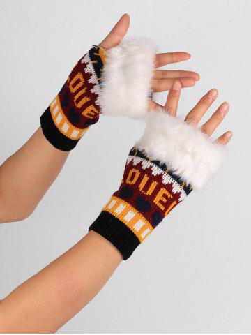 Hot Letter and Heart Embellished Knitted Fingerless Gloves