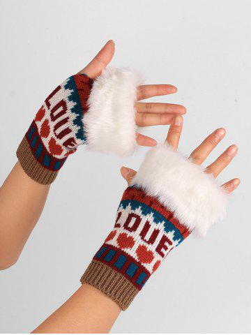 Outfit Letter and Heart Embellished Knitted Fingerless Gloves