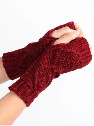 New Rhombus Stripe Crochet Knitted Exposed Finger Gloves