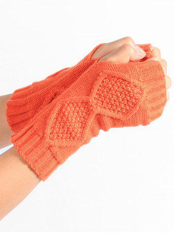 Hot Rhombus Stripe Crochet Knitted Exposed Finger Gloves