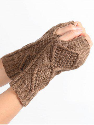 Outfit Rhombus Stripe Crochet Knitted Exposed Finger Gloves