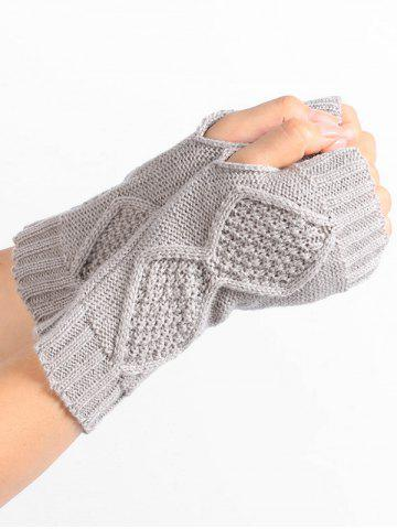 Discount Rhombus Stripe Crochet Knitted Exposed Finger Gloves