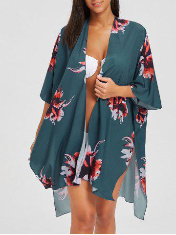 Fancy Asymmetric Slit Flower Print Kimono Cover-Up