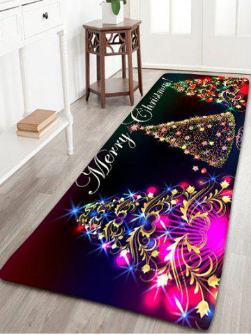 Shop Neon Christmas Tree Print Flannel Antislip Bath Rug