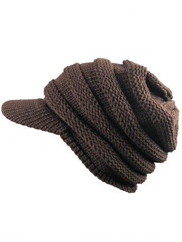 Coffee Vintage Striped Pattern Ribbed Knit Hat With Brim Rosegal