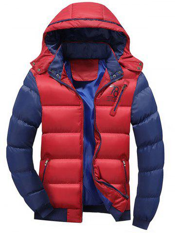 Two Tone Puffer Jacket with Detachable Hood