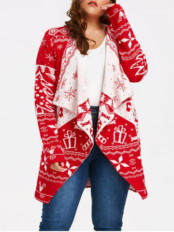 Chic Christmas Element Plus Size Draped Cardigan RED 4XL
