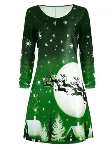 Shop Christmas Deer Long Sleeve Tee Dress GREEN 2XL