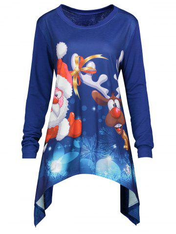 Sale Christmas Santa Claus Elk Plus Size Asymmetrical Tee - 4XL BLUE Mobile