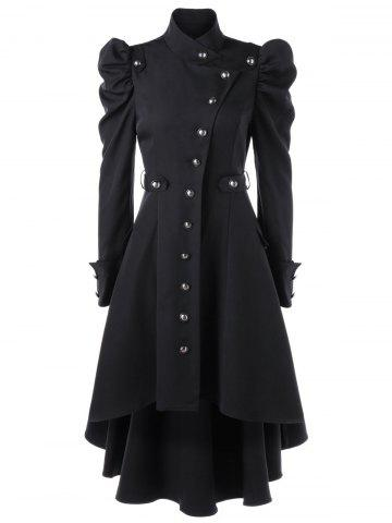 Hot Puff Shoulder Single Breasted Dip Hem Trench Coat BLACK L