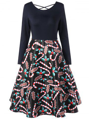 Shops Christmas Graphic Criss Cross Swing Dress - L BLACK Mobile