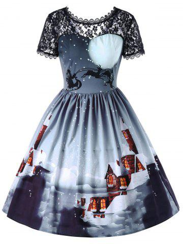 Buy Christmas Sheer Lace Yoke 50s Swing Dress