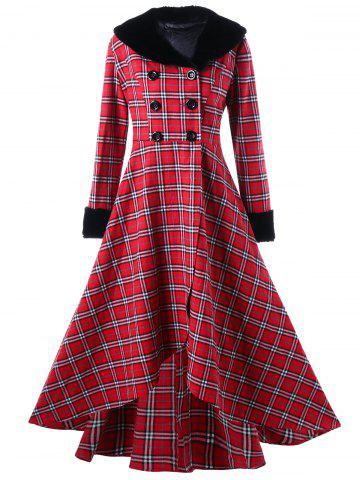 Fancy Plus Size Double Breasted Checked Swing Coat