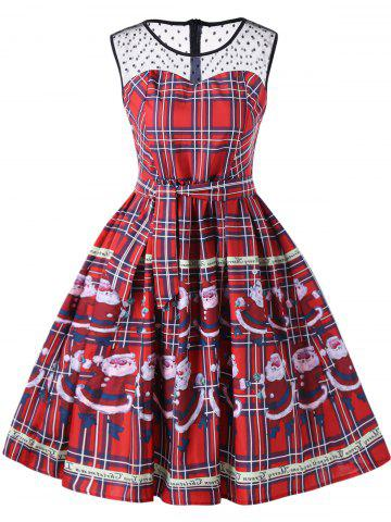 Shops Christmas Santa Claus Plaid Sheer Swing Dress