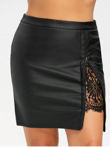 Discount Plus Size Lace Panel PU Leather Skirt