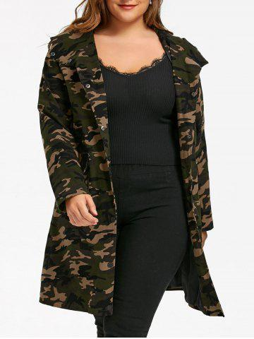 Unique Plus Size Camouflage Flap Pockets Hooded Coat