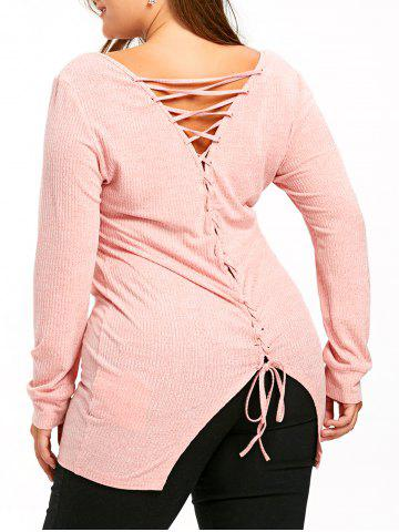 Hot Plus Size Lace Up Longline Knitwear