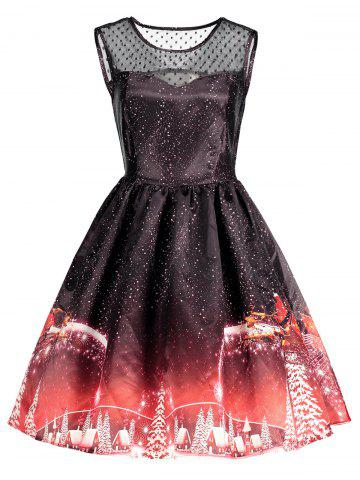 Discount Christmas Printed Mesh Insert Vintage Dress