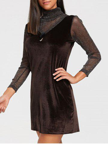 Cheap Turtleneck See Through Velvet Mini Dress