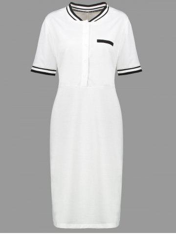 Fashion Plus Size Sheath Half Button Polo T-shirt Dress